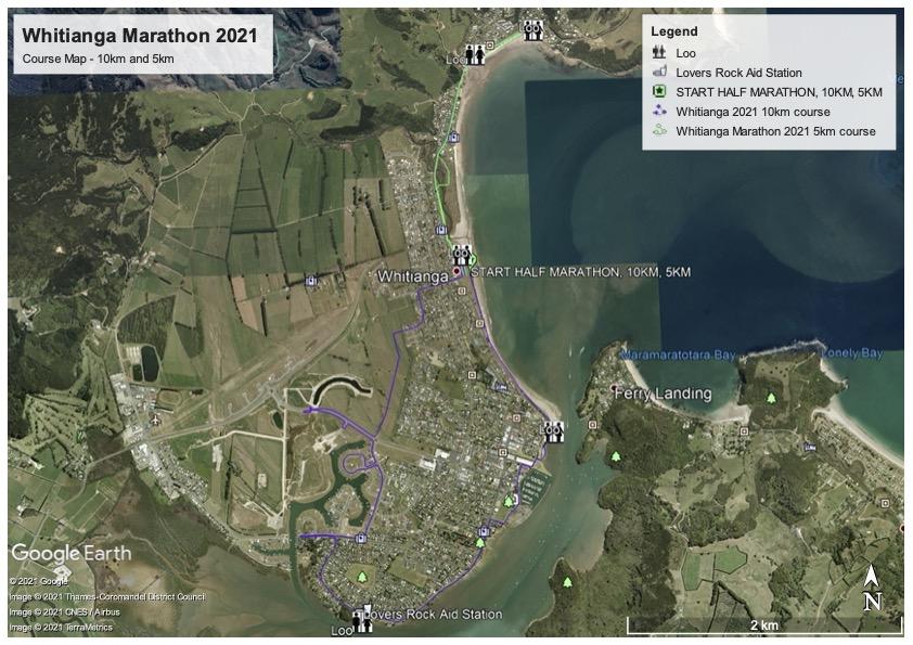 Whitianga Marathon 2021 10km and 5km course map